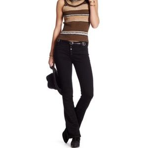 Free People Button Fly Black Slim Flare Jeans